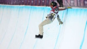 Shaun White lands on just more than snow at the Olympics at Sochi